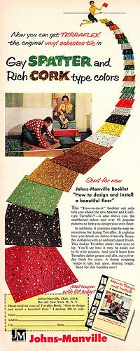 I definitely need some blue gay spatter floors in my home. :) Always liked this style, but have never seen an ad for them! 1956
