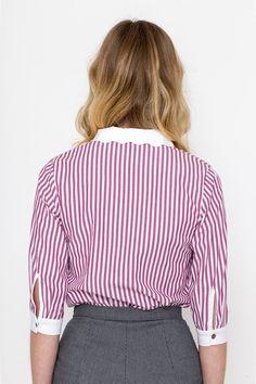 Items similar to Scallop Shirt/ Vintage Shirt/ Retro Shirt / Striped Shirt on Etsy Retro Shirts, Vintage Shirts, Vintage Outfits, Things To Come, Stripes, Actresses, Elegant, Model