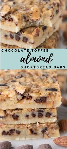 thick shortbread bar covered in a gooey topping filled with chocolate, toffee, and almonds!AA thick shortbread bar covered in a gooey topping filled with chocolate, toffee, and almonds! Holiday Baking, Christmas Baking, Christmas Cookies, Sweet Recipes, Yummy Recipes, Bar Recipes, Kitchen Recipes, Best Dessert Recipes, Drink Recipes