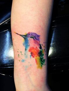 Watercolor Hummingbird Tattoo On Left Forearm