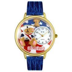 Whimsical Unisex Patriotic Teddy Bear Royal Blue Leather Watch