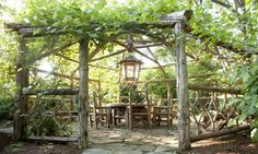 A Gazebo made by Landscape designer Charlie Baker. The landscapes are made out of wood found in nature. Would love this in my backyard! Diy Pergola, Garage Pergola, Rustic Pergola, Pergola Ideas, Landscaping Ideas, Natural Landscaping, Hillside Landscaping, White Pergola, Wood Pergola