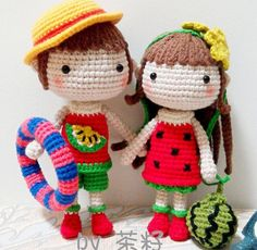 Amigurumi crochet boy and girl fruity dolls. (Inspiration).