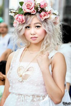 "natalianatchan: "" tokyo-fashion: "" Shelly on the street in Harajuku wearing a flower crown with a sheer Dolly & Molly dress over a Jeannie Nitro cutout top and shorts, and Acne Studios ankle boots. Japanese Street Fashion, Tokyo Fashion, Harajuku Fashion, Kawaii Fashion, Fashion 2015, Flower Crown Outfit, Flower Crown Hairstyle, Flower Girl Dresses, Lady Lovely Locks"