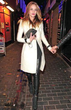 Rosie Huntington-Whiteley in leather leggings - Street Style