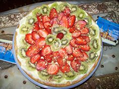 sweet pizza with chocolate spread, cream patissier and fresh fruits
