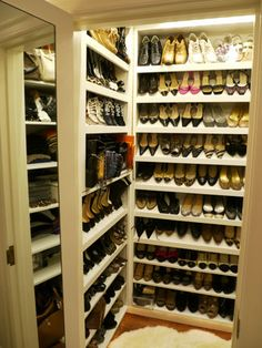 a room with compartments like this for shoes.  One room is just not enough for a closet...spaces within spaces are critical.