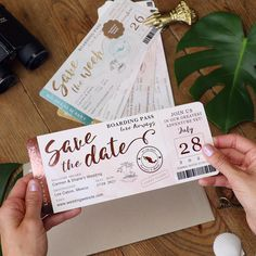 Save the Date Invitation Faux Aqua and Gold Foil with Aqua Watercolor Destination Wedding Luggage Tag Shaped Save the Date