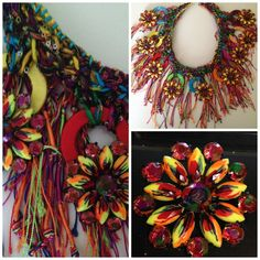 Bohemian statement, gypsy  fiber art necklace  ,crochet,  hand dyed mulberry silk yarn,  handpainted crystal navette,one-of-a-kind,colorful by Diomios on Etsy https://www.etsy.com/listing/208568365/bohemian-statement-gypsy-fiber-art