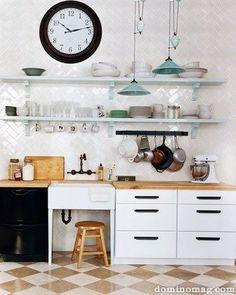 kitchens, open shelves, domino, butcher blocks, floor, herringbone, kitchen design, subway tiles, open shelving