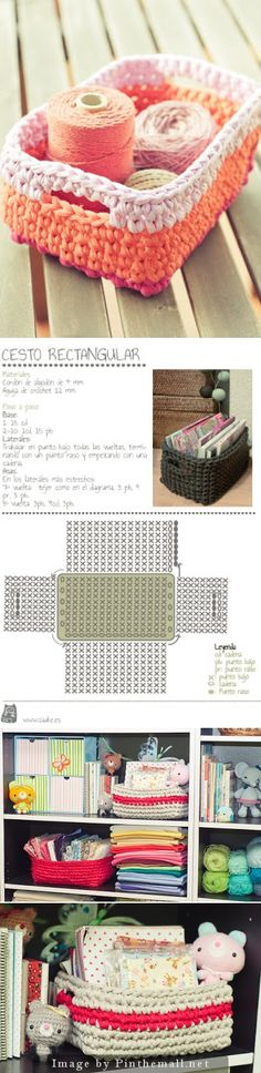 "Crochet Tutorial - Very sweet rectangular crochet basket with handles. Text in Spanish with diagram included."" ༺✿ƬⱤღ✿༻"