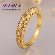 2016 barato Vintage joyería de la alta calidad de lujo nueva joyería moda rosa / 24 K chapado en oro circón cúbico diamante anillo de boda anillo en Anillos de Joyería en AliExpress.com | Alibaba Group