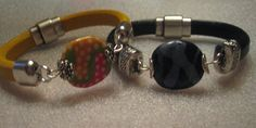 Licorice Leather Bracelets with African Kazuri Beads by SuzeHann Designs