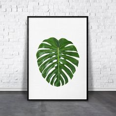 Greenery Print, Monstera Leaf Print, Jungle Leaf, Green Leaves Photo, Tropical Decor, Large Printable Art, Minimalist Leaf, Spring Wall Art