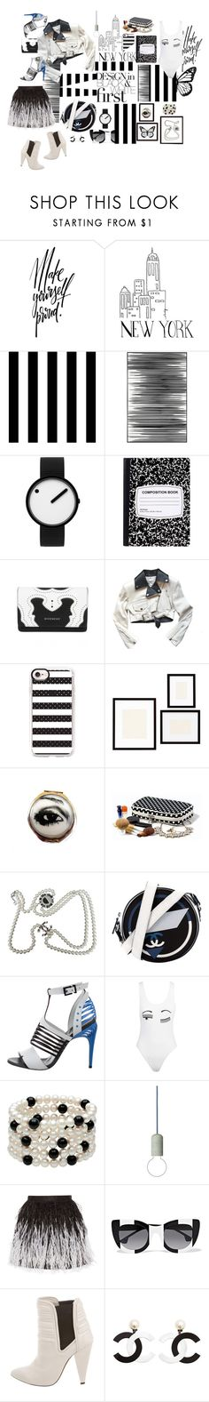 """""""Classic: black & white"""" by ashliyourstrulyx ❤ liked on Polyvore featuring Tempaper, Art Addiction, Rosendahl, Jean-Paul Gaultier, Casetify, Pottery Barn, Chanel, Fendi, Chiara Ferragni and Alice + Olivia"""