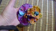 Flower Hair clip Double Orchids Purple Orange  with Hand Painted Seashells , Hawaii, Tiki, Pin Up Mermaid, Beach, Summer, Tropical, OOAK!!! by princessmadisonparis on Etsy