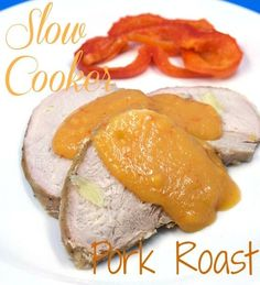 Slow Cooker Pork Roast with Roasted Pepper Onion Sauce. This one slow cooks wrapped up in bacon in a wicked ale broth.