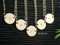 Custom Monogram Initial Necklace Disc Charm Brushed by hotmixcold, $24.00