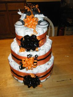 a baby shower with a Halloween theme for one of our crew... I love making these diaper cakes!
