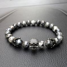 Skull Charm Natural Stone Light Beads Bracelet
