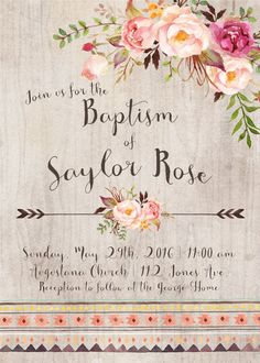 Baptism Invitation Printable Floral Girl by INVITEDbyAudriana