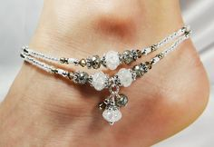 Anklet Ankle Bracelet Double Strand Dangles by ABeadApartJewelry
