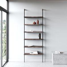 Christen Ladder Bookcase | AllModern Solid Wood Shelves, Metal Shelves, Open Shelving, Shelving Units, Storage Units, Shoe Storage, Ladder Bookcase, Bookshelves, Contemporary Bookcase