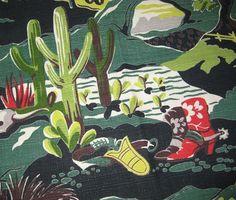 1950s Vintage Barkcloth Fabric  Western Print  Old by SelvedgeShop, $20.00: