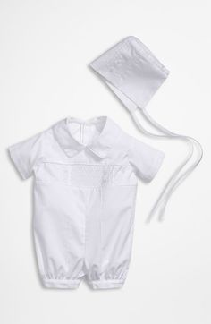Little Things Mean a Lot Baptism Romper & Hat Set (Baby) at Nordstrom.com. Classic lattice patterning accents the chest of a handsome romper paired with a matching hat for a statement-making outfit.
