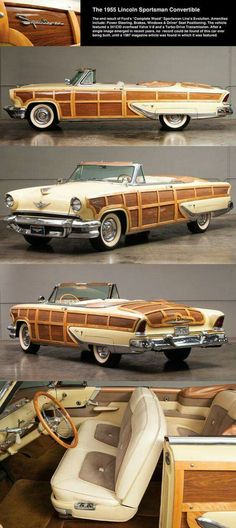1955 Lincoln Capri Sportsman Convertible proving classic does not equal beautiful. Woody Wagon, Ford Lincoln Mercury, Limousine, Chevrolet Bel Air, Unique Cars, Sweet Cars, Lincoln Continental, Amazing Cars, Car Car
