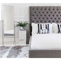 Studs and Buttons Grey Upholstered Bed | French Style Bed. French beds. Grey French bed.