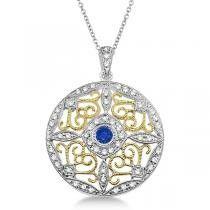 Antique Filigree Sapphire & Diamond Pendant 14K Two Tone Gold (0.51ct)