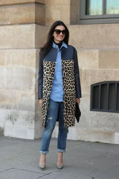 #leilayavari #leo #leopard #coat #denim #shirt #leather #paris #fashion #streetstyle #streetview #street #style #offcatwalk ON #sophiemhabille.com
