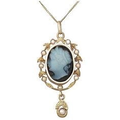 Preowned Hardstone And Seed Pearl, 18k Yellow Gold Cameo Pendant -... ($1,966) ❤ liked on Polyvore featuring jewelry, drop necklaces, yellow, antique gold jewelry, antique jewellery, gold pendant, cameo jewelry and yellow gold pendant