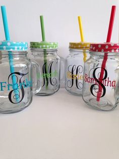Personalized Monogram Vinyl Mason Jars by LetteredMemories on Etsy