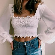 Crop Top Outfits, Cute Casual Outfits, Stylish Outfits, Long Shirt Outfits, Look Fashion, Fashion Outfits, Fashion Design, 80s Fashion, Vintage Fashion