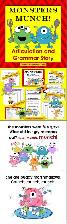 $ Speech Therapy printable monster fun abounds in this sound-loaded, interactive original story designed to improve your student's articulation, phonological awareness, and syntax skills. It features repetitive text which is proven to be a powerful tool for developing critical phonological and early literacy skills. Convenient questions and prompts are included for grammar, question comprehension and categorization. Use for Halloween, Autumn or anytime you want to have a little monster fun!