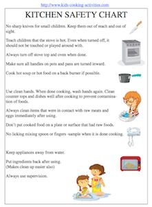 Kitchen tools worksheet kids cooking printables cooking for 6 kitchen safety basics