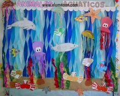 31 Animal Day Ideas – Early Childhood Education – Student On Sea Animal Crafts, Sea Crafts, Diy And Crafts, Paper Crafts, Under The Sea Theme, Under The Sea Party, Under The Sea Decorations, Rainbow Fish, Class Decoration