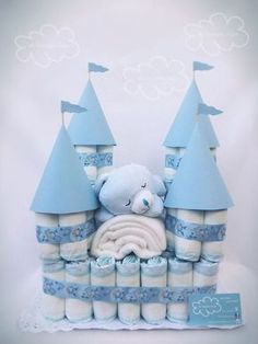 Windelschloss als Babyshower Geschenk - perfekt für Jungen! #babyshower #ideen #windelschloss #inspiration