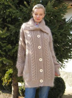 Made to order hand knitted mohair cardigan beige sweater coat