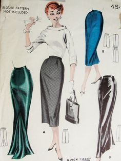 1950s Glamorous Slim Evening or Day 1 Yard Skirt Pattern Butterick 7888 Four Styles Gorgeous Godet Floor Length With Train Version Quick n Easy Vintage Sewing Pattern