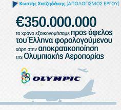 """Η μάχη που δώσαμε για την αποκρατικοποίηση της Ολυμπιακής Αεροπορίας το 2008, αποδίδει καρπούς σε όλα τα επίπεδα, όπως επιβεβαιώνει η """"Καθημερινή"""". Οι τιμές των ναύλων μειώνονται ,η επιβατική κίνηση ενισχύεται και το κράτος εισπράττει 250 εκ. ευρώ κάθε χρόνο, εκεί που έμπαινε μέσα 350 εκ. ευρώ για την παλιά ΟΑ."""