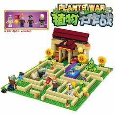 Plants vs Zombies Garden maze struck game Building Blocks Bricks Like Lepin figures My world Minecraft Toys for children gift