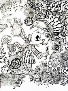 Disney Mandala Coloring Pages Beautiful Mad Hatter Alice In Wonderland An Example Of How A Regular Adult Coloring Book Pages, Disney Coloring Pages, Coloring Pages To Print, Free Coloring Pages, Printable Coloring Pages, Mandalas Painting, Mandalas Drawing, Zentangles, Colouring Pics
