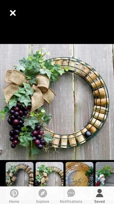 Wine corks wreath #wine bottle crafts grapes