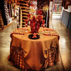 Fall Table Display Triad Plus fabrics and fabrication.  Display design by Debra Williams