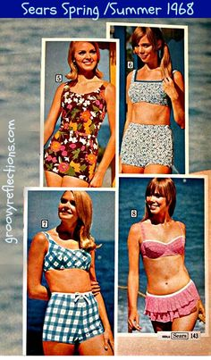 Four stylish swimsuits / bathing suits in pretty pinks, blue and white gingham check, and floral! Sears Spring/Summer 1968 #sears #fashion #vintage #groovy