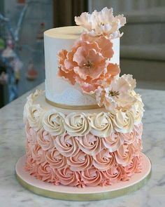 Buttercream rose swirl cake with gold accents and handmade sugar flowers! Buttercream Wedding Cake, Wedding Cupcakes, Cake Boss, Girl Cakes, Baby Cakes, Rose Swirl Cake, Rose Gold Cakes, Sweet Sixteen Cakes, Sweet 16 Cakes