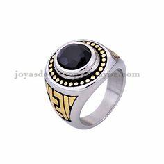 anillo de serie escuela piedra negra en acero plateado inoxidable - SSRGG371811